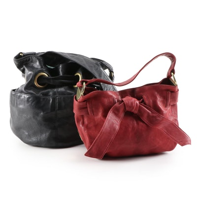 Kooba Black and Red Leather Shoulder Bag and Handbag