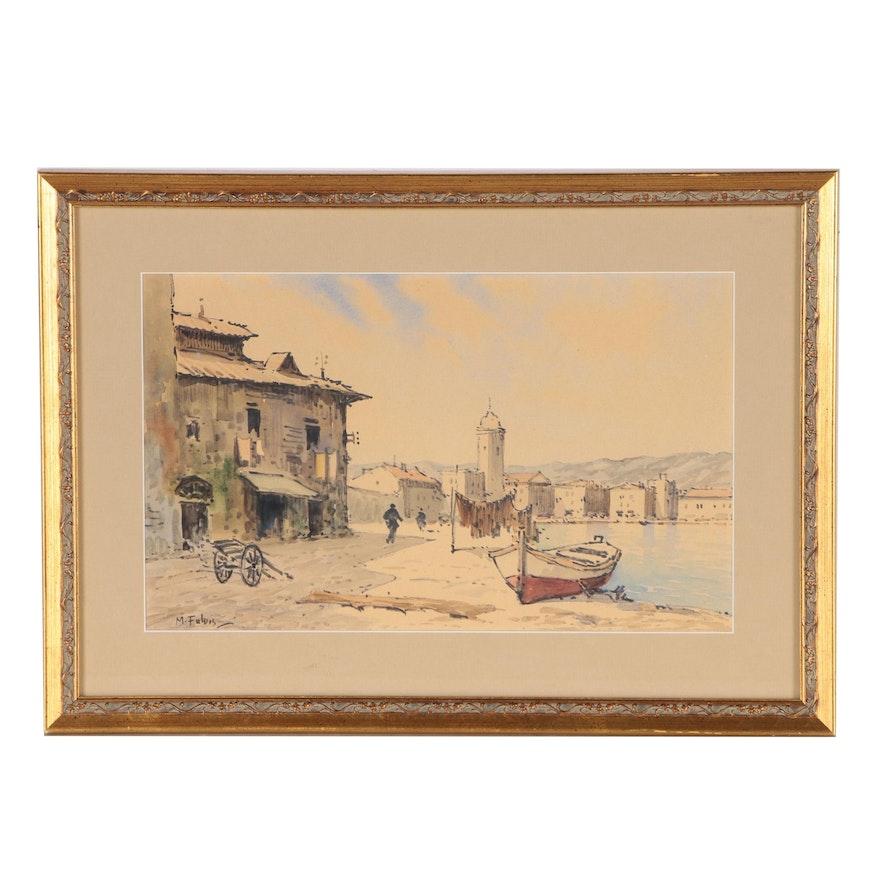 Mediterranean Coastal Scene Ink and Watercolor Painting