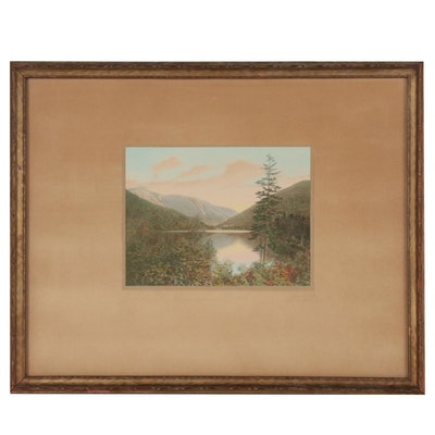 "Charles H. Sawyer Hand Colored Platinum Print ""Echo Lake, Franconia Notch"""