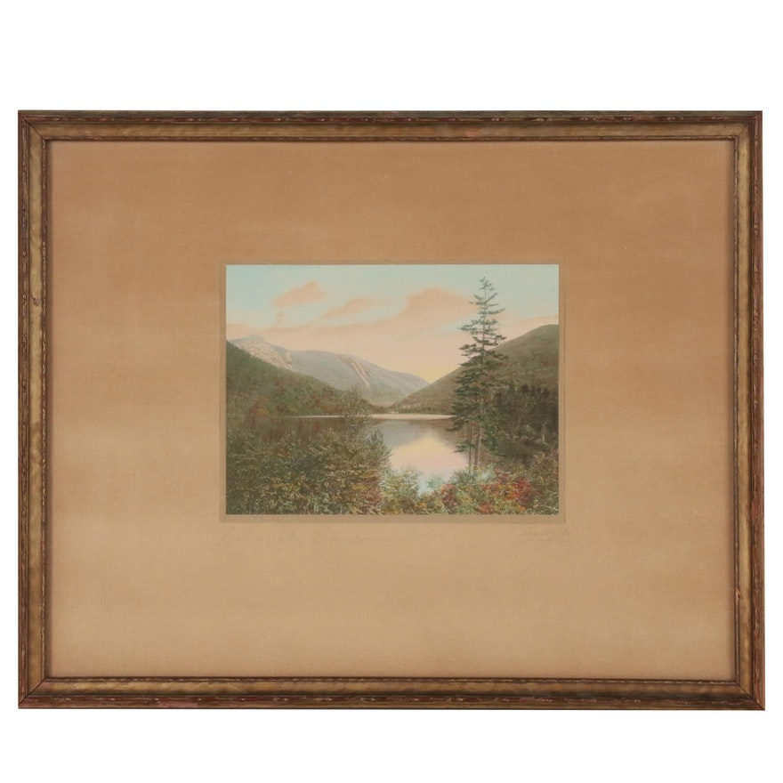 "Charles H. Sawyer Hand Colored Platinum Print ""Echo Lake, Franconia Notch"""