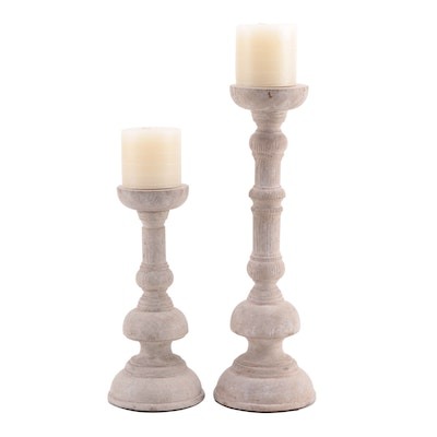 Wooden Pedestal Candle Holders with Candles