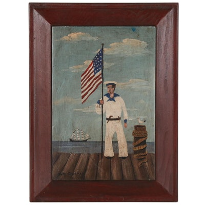 Betty Fischer Folk Art Oil Painting of Sailor with American Flag
