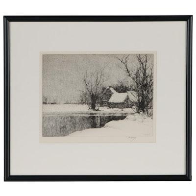 C Jac Young Winter Landscape Etching