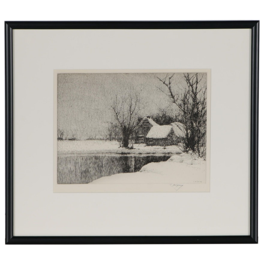C Jac Young Winter Landscape Etching
