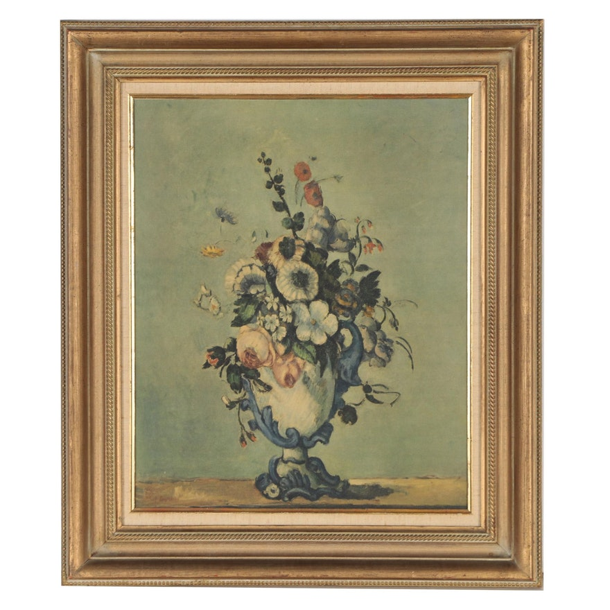 """Serigraph Print After Paul Cézanne """"Flowers in a Rococo Vase"""" 1876"""