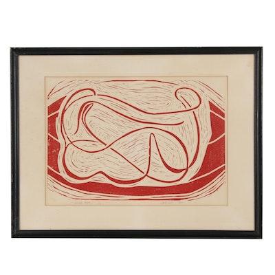 """Landsman Woodblock """"Womb-Mates"""", 1963"""