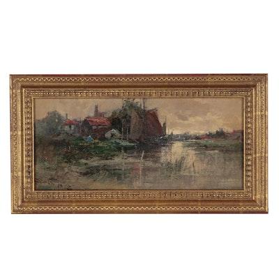 Frederick John Bartram Hiles Landscape Oil Painting
