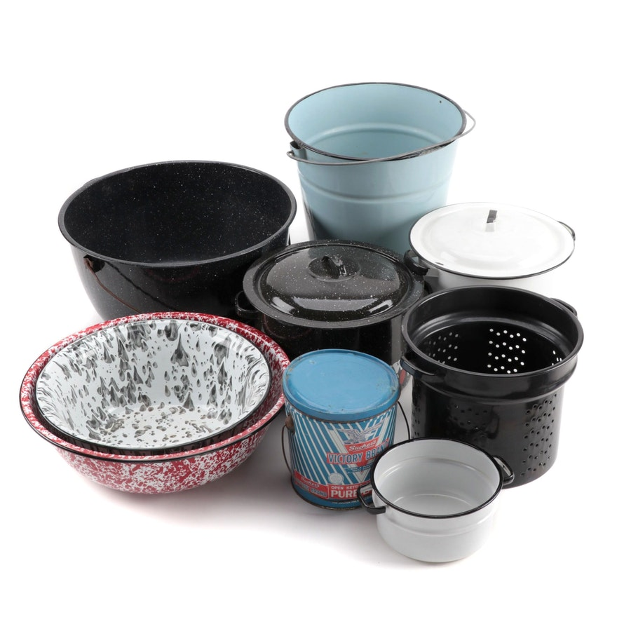 Assorted Kitchen Cookware, Granite Bowls, with Victory Brand Lard Can
