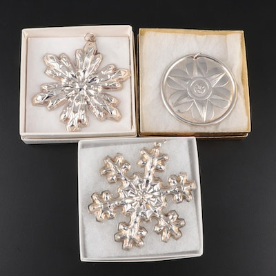 "Gorham Annual ""Snowflake"" Sterling Ornaments with Towle Sterling Ornament"