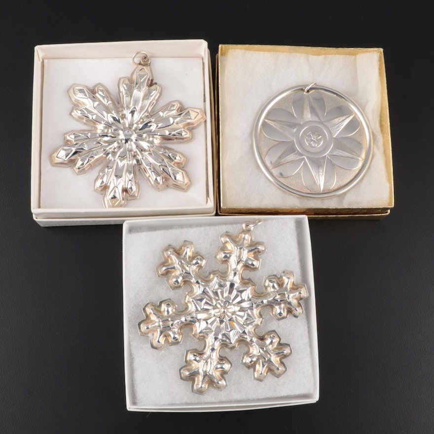 """Gorham Annual """"Snowflake"""" Sterling Ornaments with Towle Sterling Ornament"""