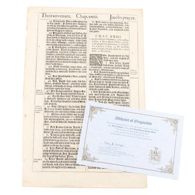 "1611 ""King James Pulpit Bible"", Book of Genesis Leaf from Original Volume"