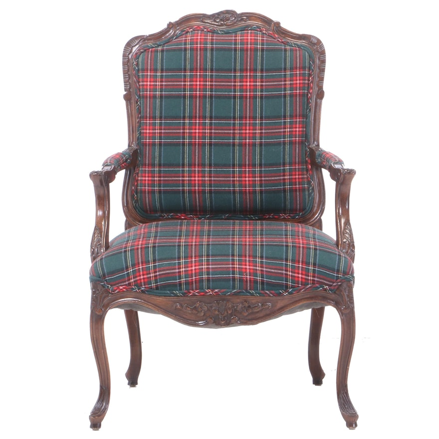 Louis XV Style Carved and Stained Beech Fauteuil in Plaid Upholstery