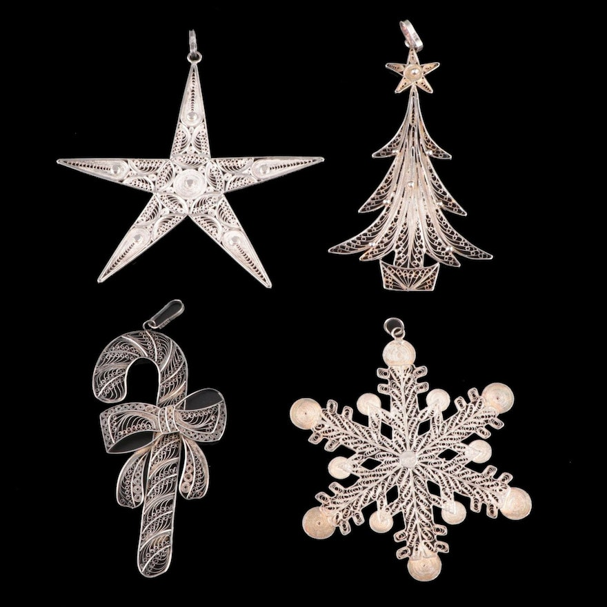 Gorham and Peruvian Filigree Sterling Silver Ornaments, Late 20th Century