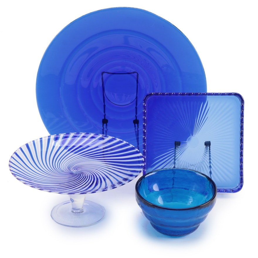 Signed Blue Art Glass Bowl with Blue Glass Cake Stand and Other Serveware