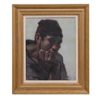 Portrait Oil Painting of Pensive Man