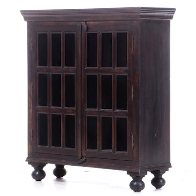 Dark-Stained Wood and Glazed-Door Bookcase