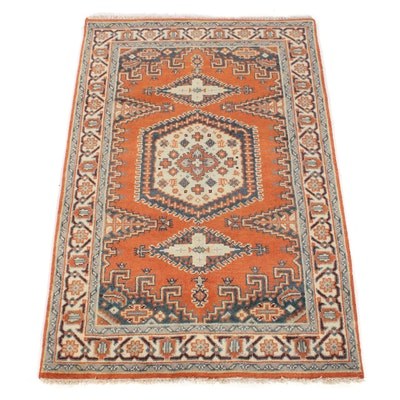4'0 x 6'0 Hand-Knotted Indo-Caucasian Kazak Rug
