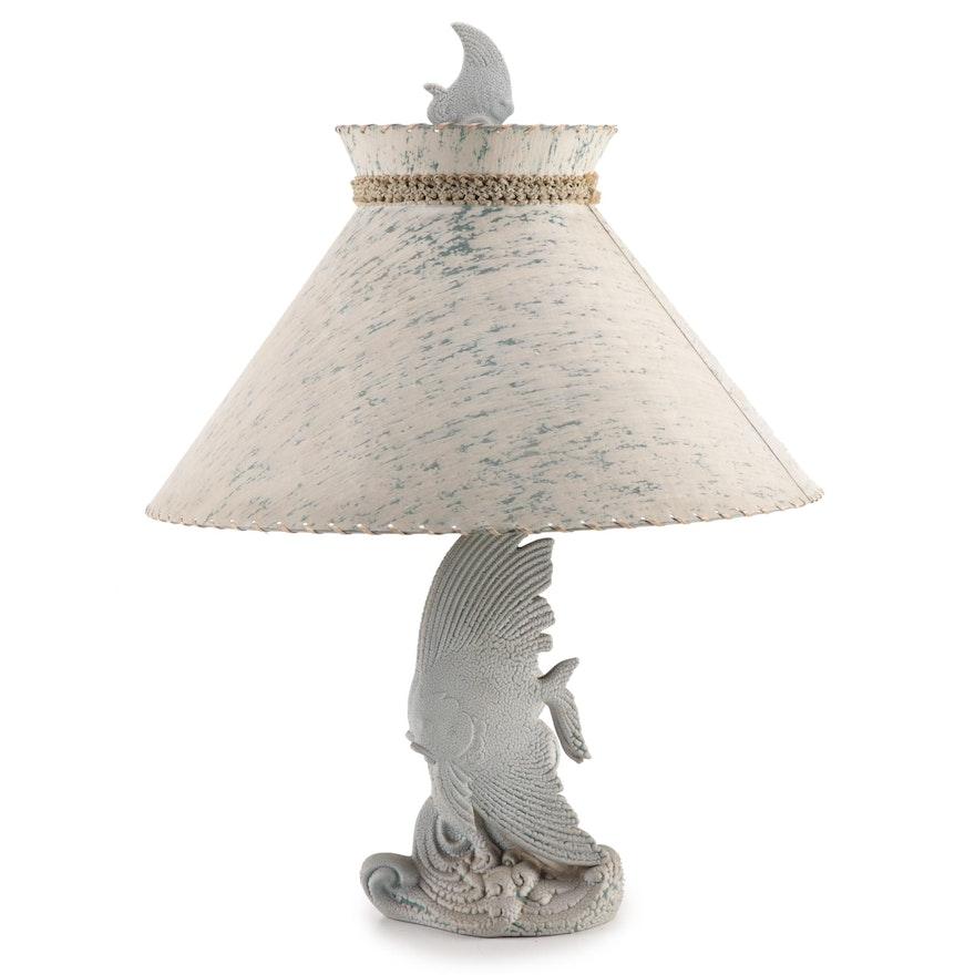 Mottled Ceramic Fish Table Lamp with Fiberglass Shade