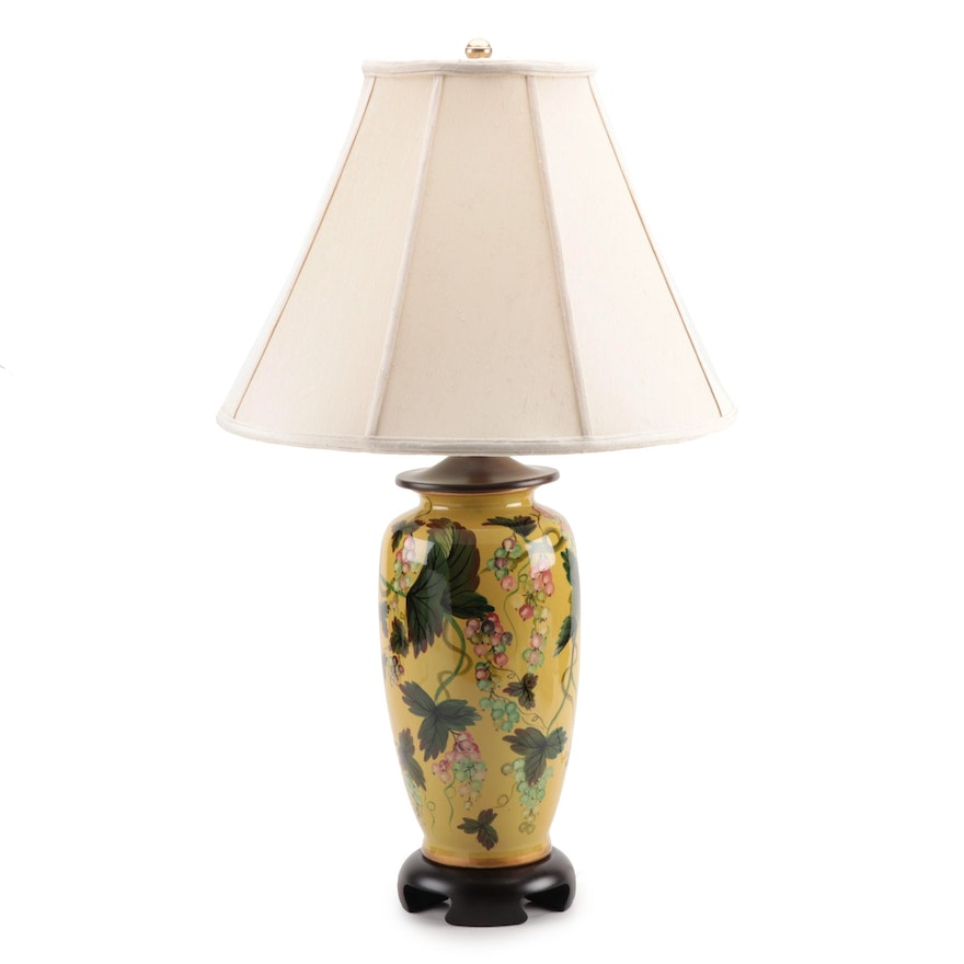 Frederick Cooper Yellow Porcelain Table Lamp, Mid to Late 20th Century