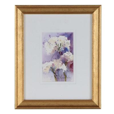 "Nancy Nordloh Neville Floral Watercolor Painting ""Queen Annie"""
