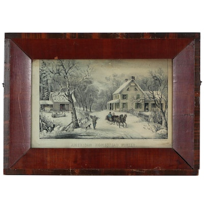"Currier & Ives Hand-Colored Lithograph ""American Homestead Winter"", 1868"
