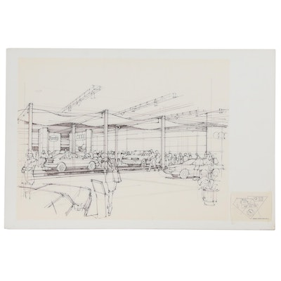 Edward Dumont Ink Drawing of Audi Dealership