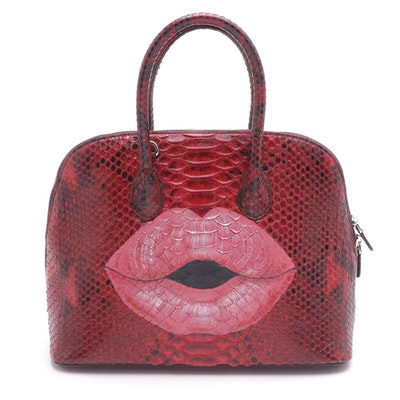Eileen Kramer Red Python Skin Painted Lips Satchel