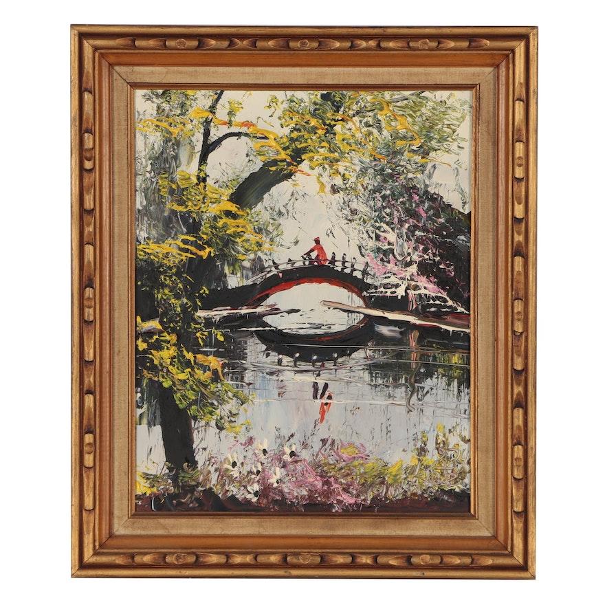 Morris Katz Oil Painting of Park Landscape, 1974