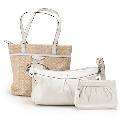Coach Ashley Crossbody, Embossed Stripe Tote and Pleated Leather Pouch