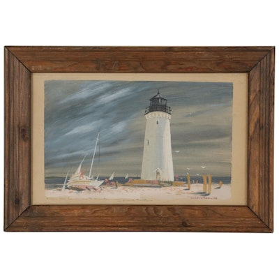 Gouache Painting of Lighthouse, 1949