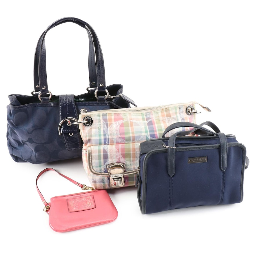 Coach Poppy Madras, Soho Carryall, Neoprene Shoulder Bags and Leather Pouch