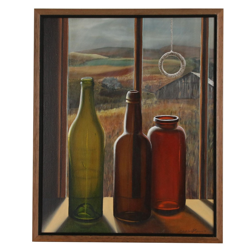 "Robert Gregonis Oil Painting ""Bottles on a Windowsill"", 1979"
