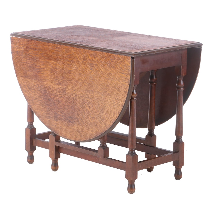 C.W.S. Ltd. William and Mary Style Oak-Top Gateleg Table