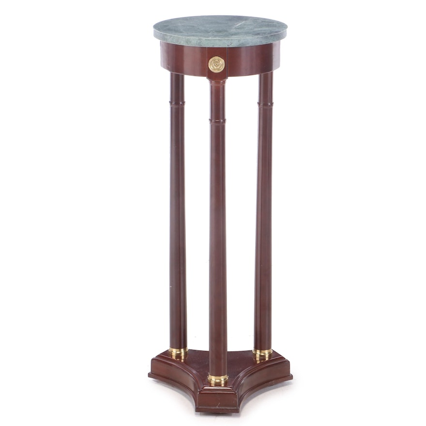 Bombay Company Empire Style Brass-Mounted and Mahogany-Stained Marble Top Stand