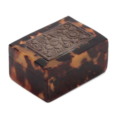 Tortoiseshell and Floral Embossed Metal Pill Box