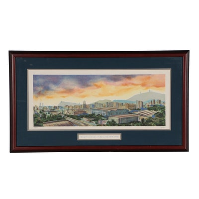 Joseph Puga Lithograph of Barcelona Skyline