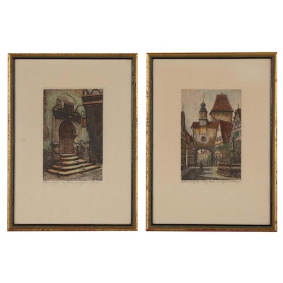 Hand-colored Etchings of Rothenburg, Germany