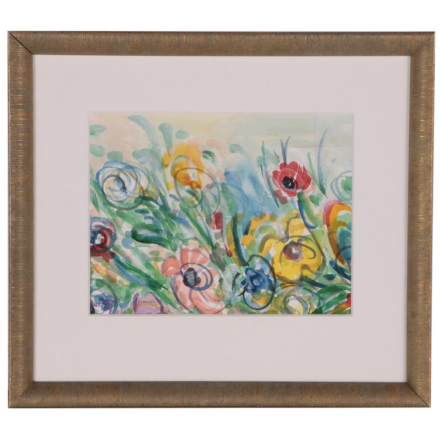 "Beverly Erschell Abstract Watercolor Painting ""Wildflowers"""