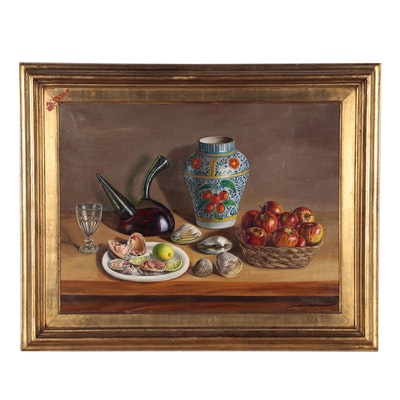Realistic Still Life Oil Painting of a Table Setting