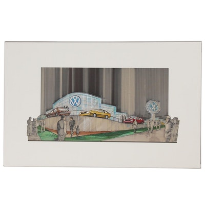 C.F Peterson Mixed Media Drawing of a Volkswagen Dealership