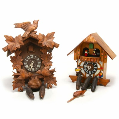 German Black Forest Eight Day Carved Cuckoo Clocks