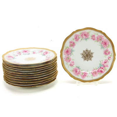 Set of Twelve Theodore Haviland Limoges Porcelain Dinner Plates