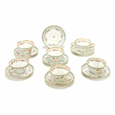 Haviland and Co. Floral Motif Porcelain Cream Soup Bowls and Saucers, 1894–1931