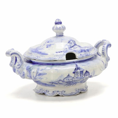 Italian Blue and White Hand-Painted Faience Soup Tureen