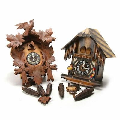West German Black Forest Carved Cuckoo Clocks