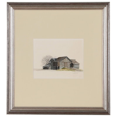 "James Peter Cost Watercolor Painting ""Bank Barn"""
