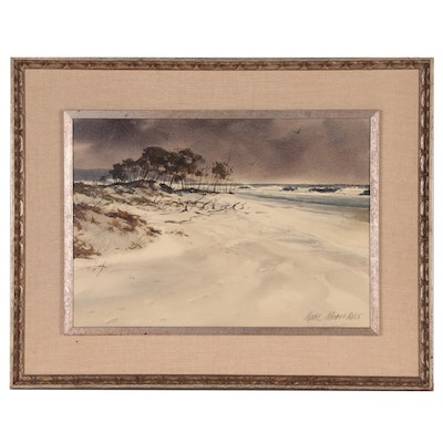 "Marc Moon Varnished Watercolor Painting ""Deserted Beach"""