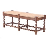 Jacobean Style Walnut Barley-Twist Bench