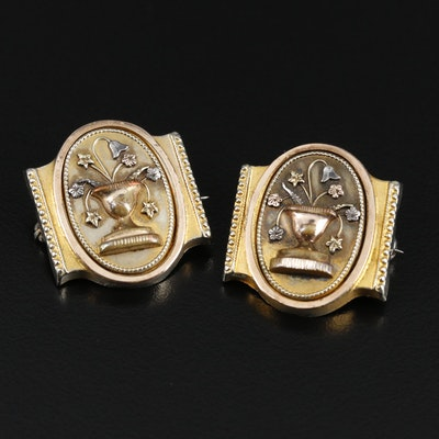 Victorian Aesthetic Urn and Floral Brooches