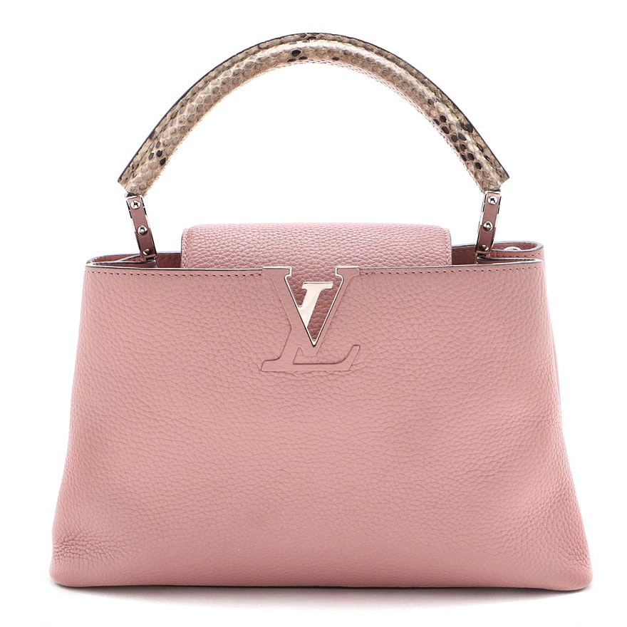 Louis Vuitton Pink Taurillon Leather and Ayers Snakeskin Capucines PM Handbag